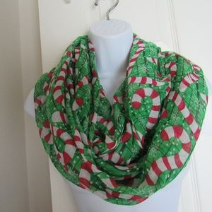 Accessories - Peppermint Green/Red infinity Scarf